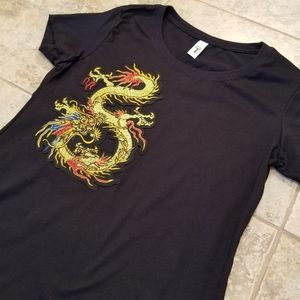Tops - Chinese Dragon Embroidery Black Tee Shirt